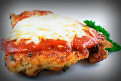 Easy Chicken Marinara topped with bubbly cheese
