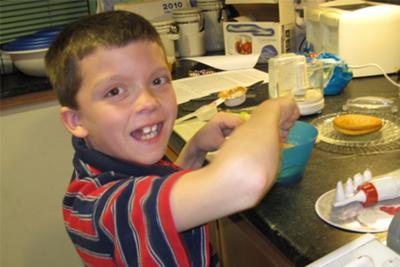 Josh preparing his treat