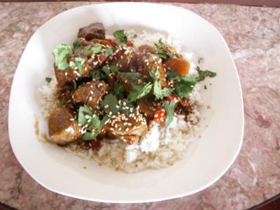 Oriental Sauce Over Beef Tenderloin & Jasmine Rice