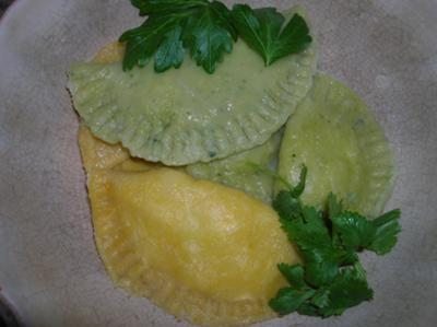 Traditionally shaped squash pierogi