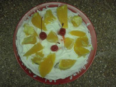 our cake topped with fresh fruit
