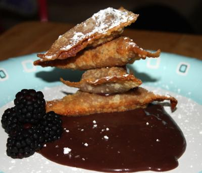 Wacky Stacky Wontons with Chocolate Dipping Sauce and Fresh Blackberries